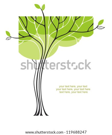 card with stylized tree