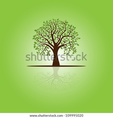 card with stylized tree and text, vector image for design - stock vector