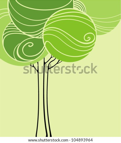 card with stylized trees and text - stock vector