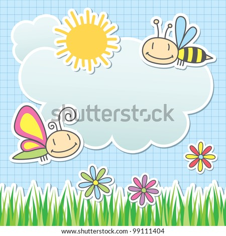 card with sun, cloud, butterfly and bee - stock vector
