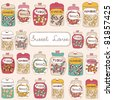 card with sweet jars full of candies - stock vector