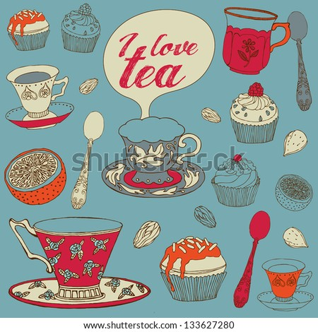 Card with tea and cupcakes. Vector illustration. - stock vector