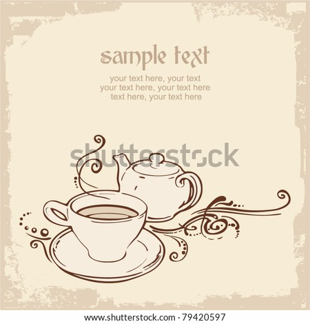 card with teapot, cup and place for text - stock vector