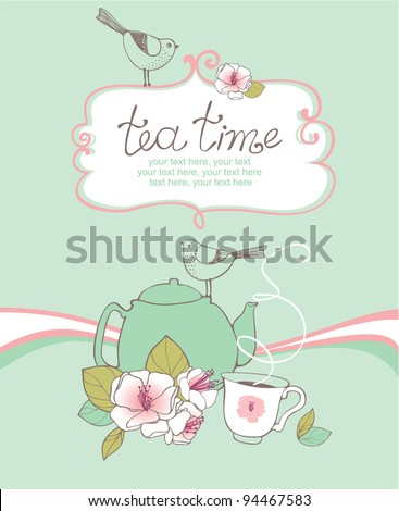 card with teapot, cup, birds and cherry blossoms - stock vector