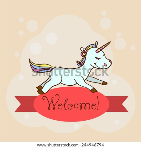 Card with the inscription on the tape Welcome and animals for your business. - stock vector