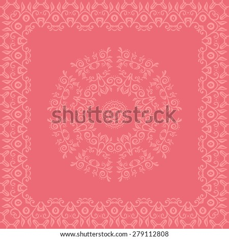 Card with the lace elements in an oriental ornament. Fully editable vector illustration. Ideally suited for textile, ceramic industry or  stationery. - stock vector