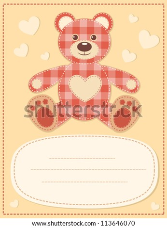 Card with the teddy bear for baby shower. Vector illustration.