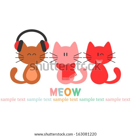 Card with three cute kittens - stock vector