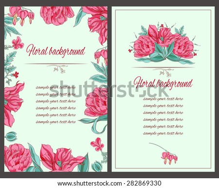 card with tulip flowers bouquet decoration and text area