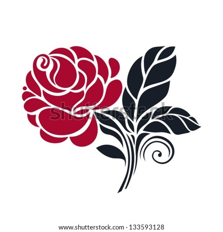 card with vector stylized rose - stock vector
