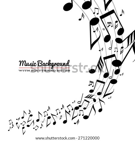 Card with wave of messy scattered music notes on stave - stock vector