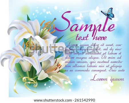 Card with white lilies - stock vector