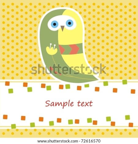 card with yellow owl