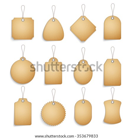 Cardboard blank tags set for clothes or goods realistic isolated vector illustration