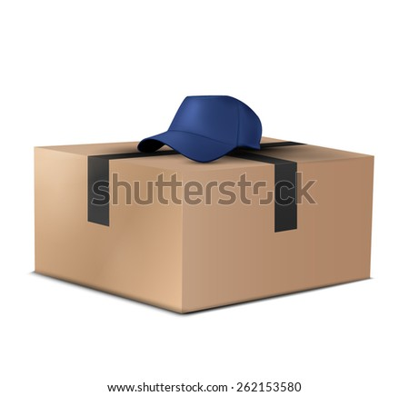Cardboard box and blue hat - stock vector