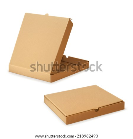 Cardboard box for pizza, vector illustration - stock vector
