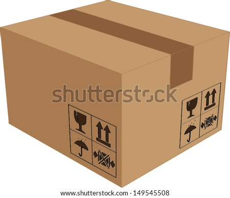cardboard box isolated illustration - stock vector
