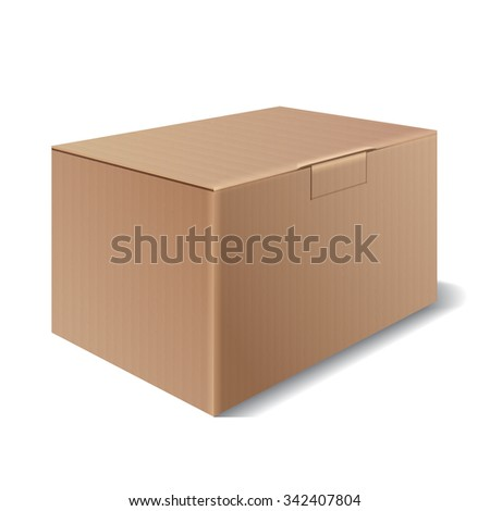 Cardboard box isolated on a white background. Symbol packaging for shipping. Vector illustration - stock vector