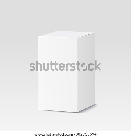 Cardboard box on white background. White container, packaging. Vector illustration - stock vector