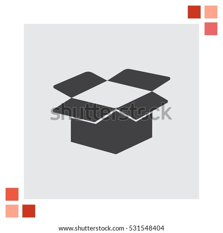 Cardboard box open vector icon. Package sign. Shipping parcel symbol.