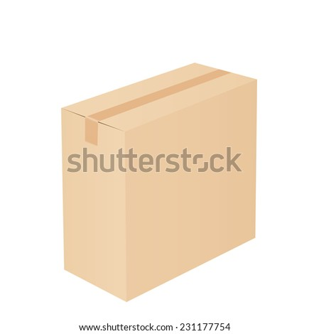 Cardboard box taped up and isolated on a white background.