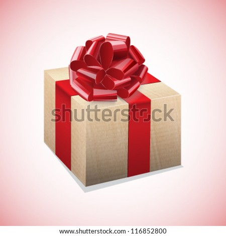 Cardboard box with a red bow