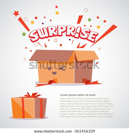 cardboard box surprise text design character stock vector 361456109 shutterstock. Black Bedroom Furniture Sets. Home Design Ideas