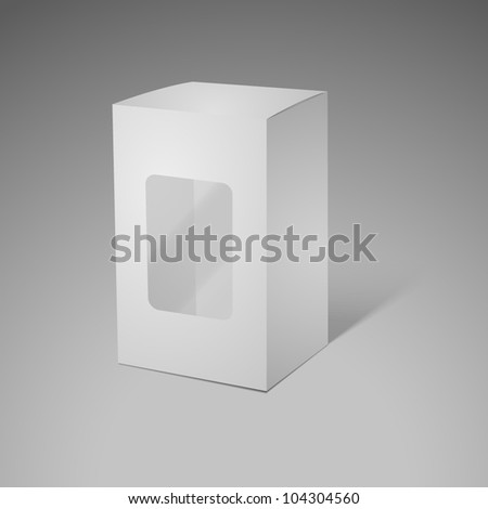 cardboard box with transparent plastic window - stock vector