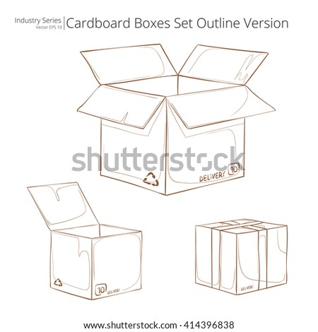 Cardboard Boxes. Abstract set of Cardboard Boxes. Outline series. Vector EPS10.