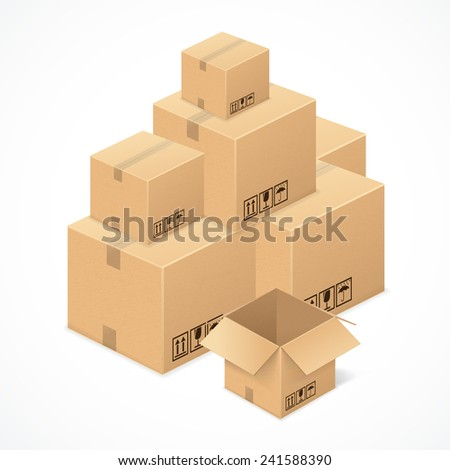 Cardboard boxes isolated on white background . - stock vector
