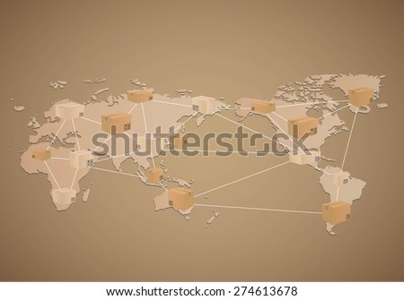 Cardboard boxes on world map background - stock vector