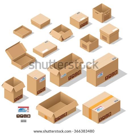 Cardboard boxes set - stock vector