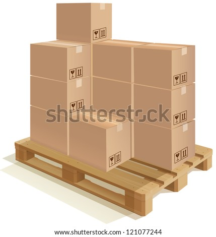 Cardboard boxes set on a wooden pallet EPS 10 file; The shadow is a transparency. This transparency is on a separate layer from the rest of the artwork and can easily be deleted or turned off. - stock vector