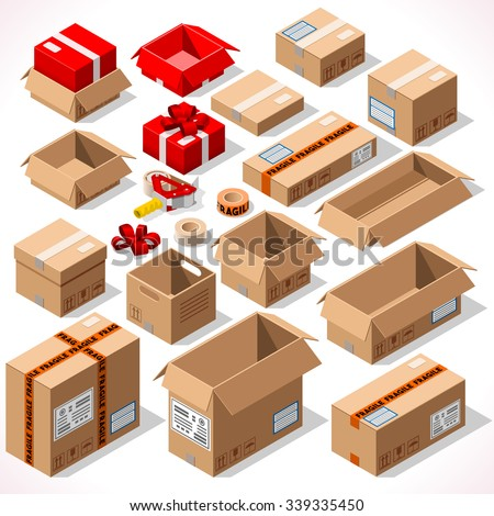 Cardboard Boxes Set Opened Closed Sealed with Tape Dispenser Big or Small Delivery Format. Vector Flat Style Isolated on White Background. Delivery Object Infographic for Holiday Gift Package - stock vector