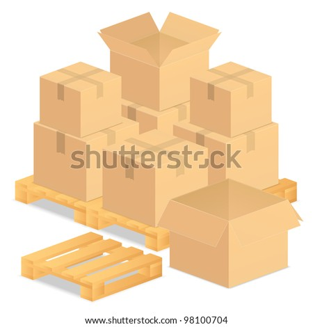 Cardboard boxes, vector eps10 illustration - stock vector