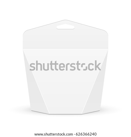 Cardboard Carry Box Bag Packaging For Food, Gift Or Other Products With Hang Slot. Illustration Isolated On White Background. Mock Up Template Ready For Your Design. Product Packing Vector EPS10