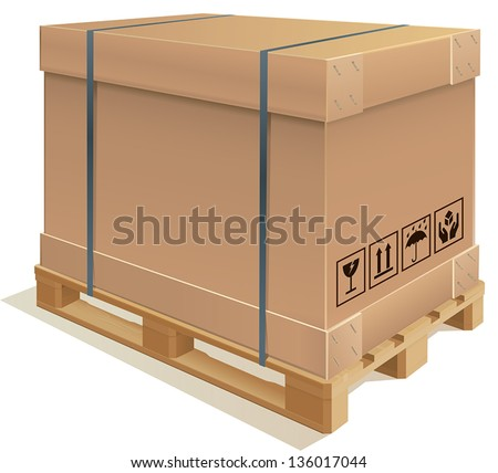 Cardboard container with wooden pallet - stock vector