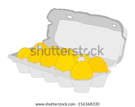 Cardboard egg box vector with ten  eggs isolated on white background. With clipping path. - stock vector