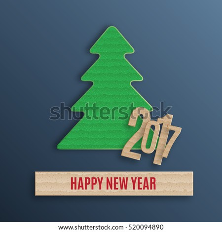 Cardboard fir-tree. New year background. EPS10 vector