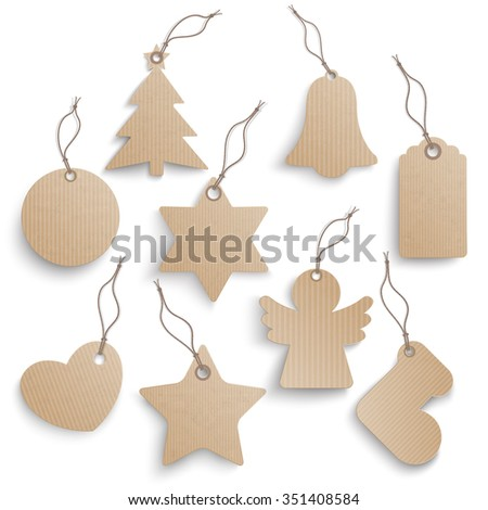 Cardboard hanging Christmas price stickers set on a white background.  Eps 10 vector file.