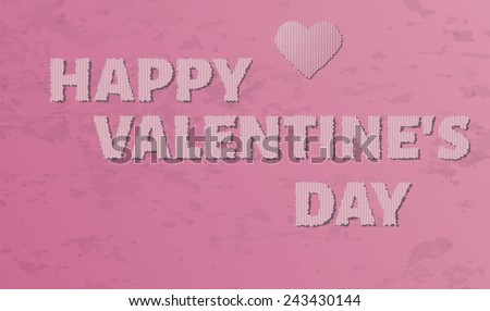 cardboard happy valentine`s day with heart on pink grunge background - stock vector