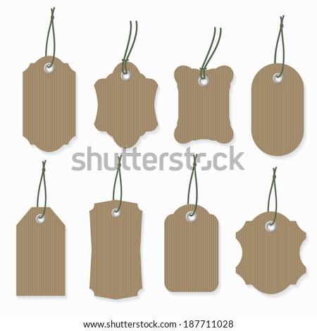 Cardboard label template set. - stock vector