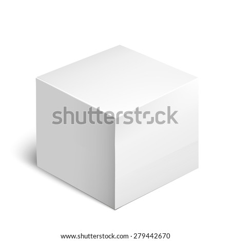 Cardboard Package Box. White Package Square For Software, DVD, Electronic Device And Other Products.  Mock Up Template Ready For Your Design.  Vector Illustration  Isolated On White Background. - stock vector