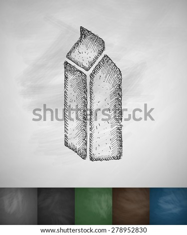 cardboard package icon. Hand drawn vector illustration. Chalkboard Design - stock vector