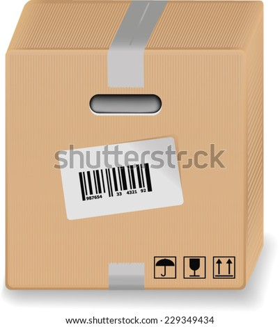 cardboard packing box with a bar code and adhesive tape - stock vector
