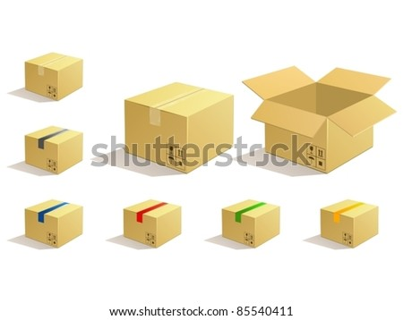 Cardboard parcel. Box package icons. - stock vector