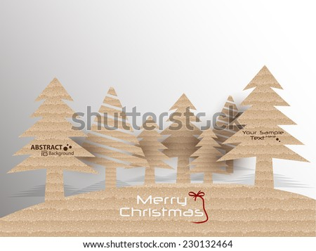 Cardboard stylish Christmas tree vector illustration... - stock vector