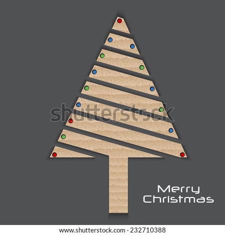 Cardboard stylish Christmas tree vector illustration - stock vector