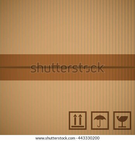 Cardboard texture two sections connected by transparent tape - stock vector