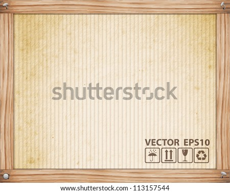 Cardboard texture with wood, Vector illustration - stock vector